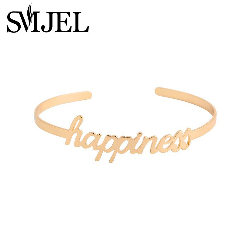SMJEL Nueva Moda Amor Simple Felicidad Carta Pulseras Brazaletes para Mujeres Open Cuff Bangle Femme Party Wedding Gift G057