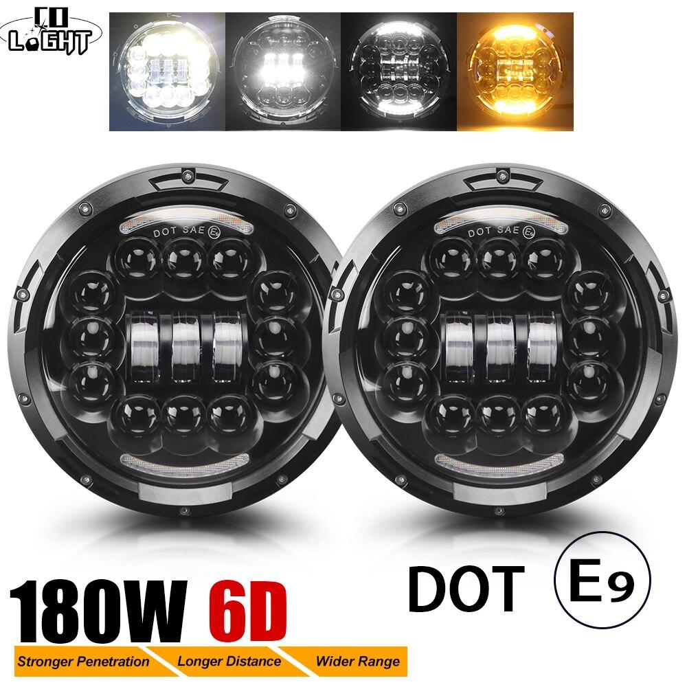 CO LIGHT 7 180W LED Headlight 6D Car Led Driving Lights Hi Lo Beam DRL White