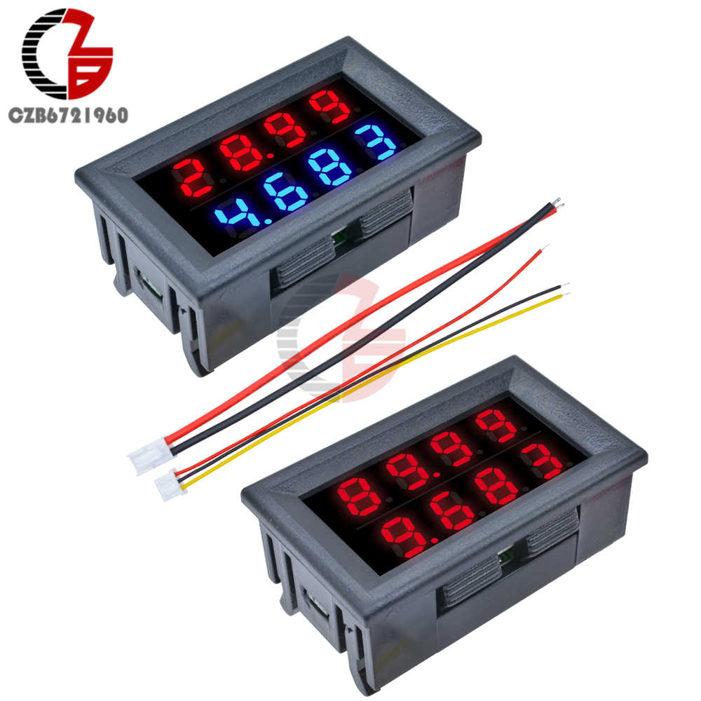 "DC 0-200V 10A 0.56"" Inch LED Digital Car Motorcycle Voltmeter Ammeter 4 Bit 5 Wires Current Voltage Meter Tester Dual Display"