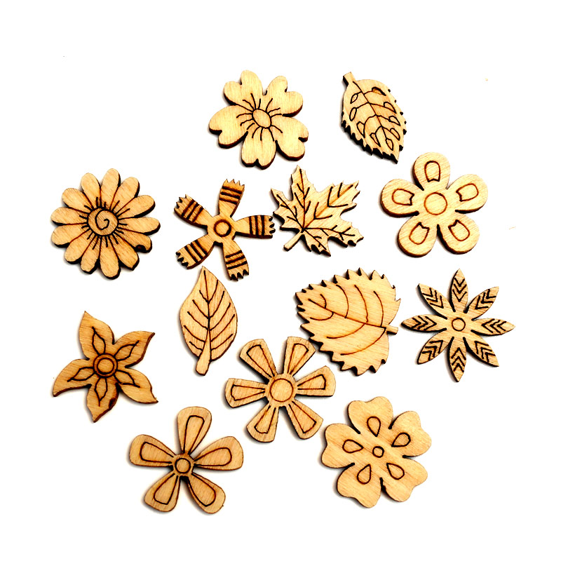 100pcs Unfinished Flowers Wood Slices Embellishments MDF Wooden Cutout Flatback Scrapbooking For Cardmaking Art Wedding Decor