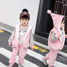 Children's Clothing Sets Baby Girl Clothes Suit For Toddler Autumn Winter Warm Hooded  Vest + Long Sleeves + pants 1-3 Year