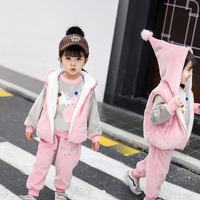 Children's Clothing Sets Baby Girl Clothes Suit For Toddler Autumn Winter Warm Hooded Vest + Long Sleeves + pants 1 3 Year