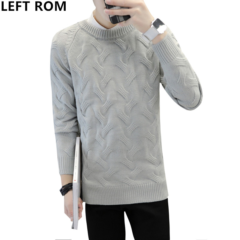 LEFT ROM 2018 Male Fashion business stripe high quality Keep warm round collar Pullovers men Long sleeve knitting sweater S-4XL