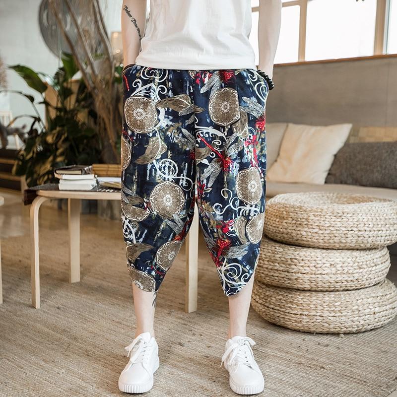 Повседневные мужские брюки с забавным принтом, хлопковые мужские брюки на осень и весну серого цвета, спортивные брюки больших размеров, черные брюки в китайском стиле - Цвет: color1