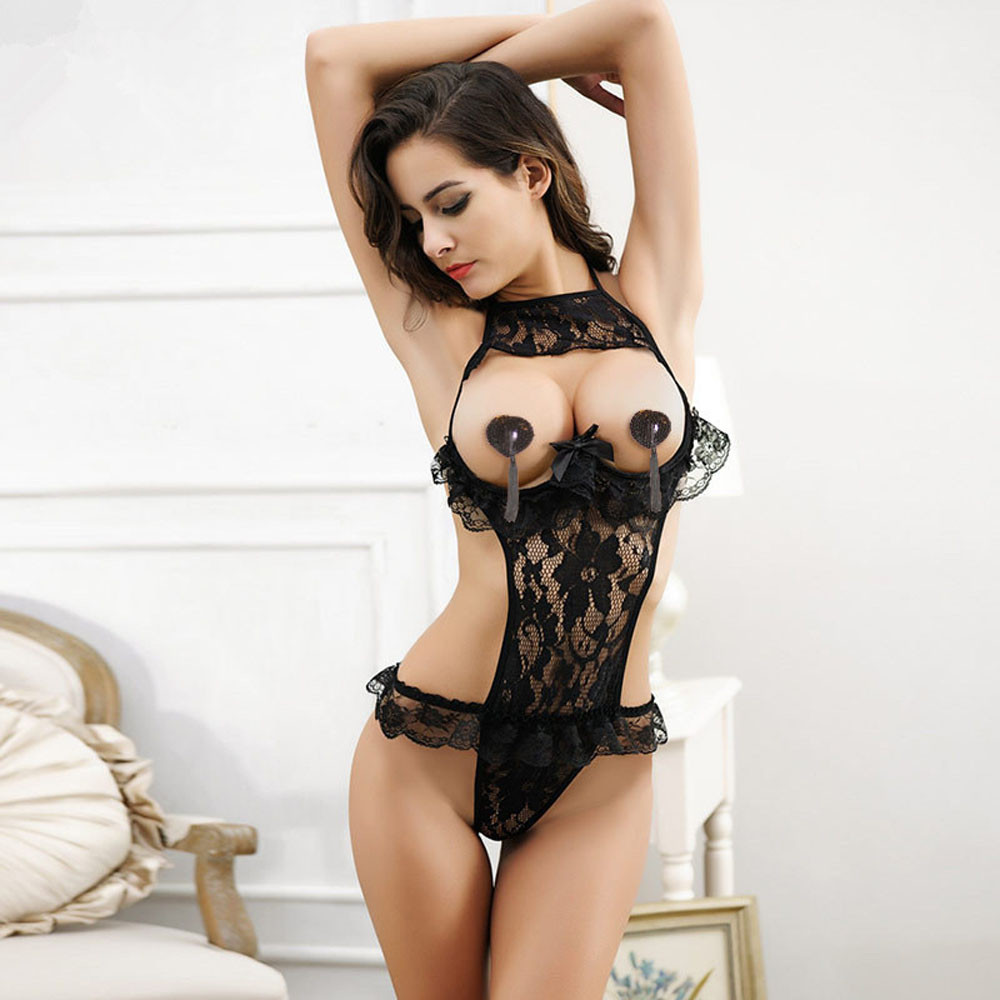 2019 Hot Sexy Lingerie Lace Floral Open Bust Transparent Sleepwear Pajamas Women Passion Sexy Exposed Cleavage Underwear Black