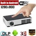 1000 ANSI люмен 1080 P android-wifi DLP 3d-затвора жк-hdmi VGA USB AV микро-sd-карта HD жк-карманный видео из светодиодов мини-проектором проэктор