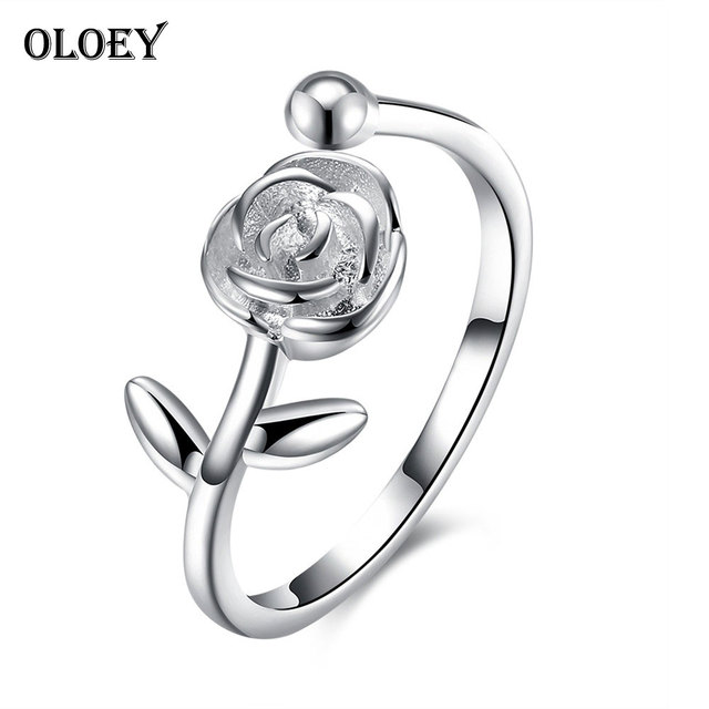 OLOEY Rose Flowers Women Open Rings 100% Real 925 Sterling Silver Adjustable Rin