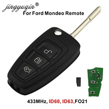 Jingyuqin chave remota automotiva, 3 botões, com chip 4d60 4d63, para ford focus mk1, mondeo, transit connect 433mhz