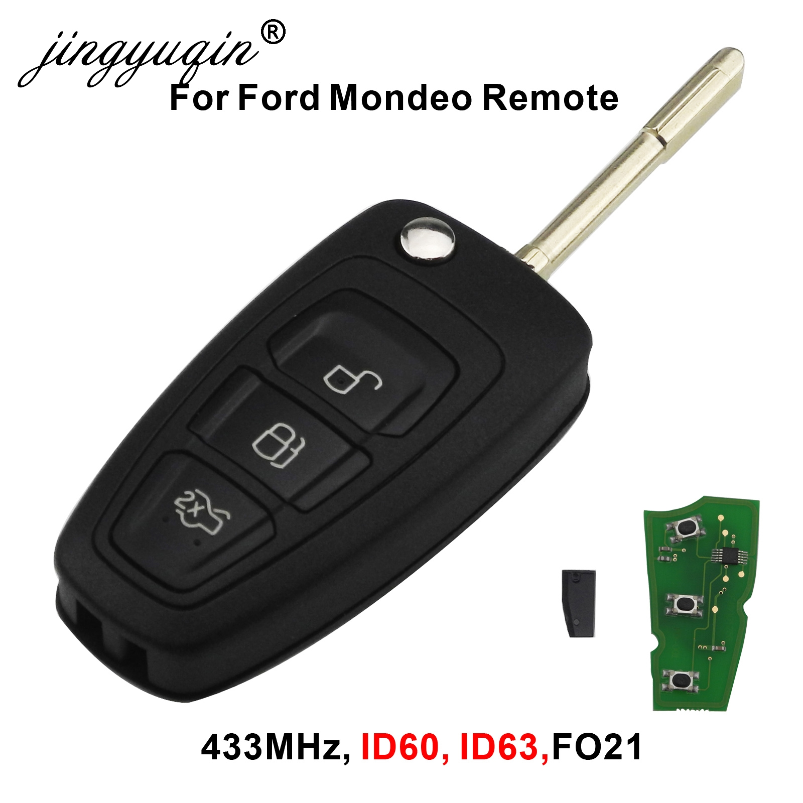 jingyuqin 3 Buttons Flip Remote Key Fob Chip 4D60 ID63 For Ford Focus Mk1 Mondeo Transit Connect 433Mhz-in Car Key from Automobiles & Motorcycles