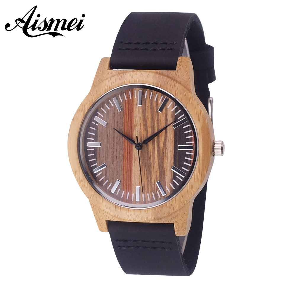 2018 New Aismei Colorful Face Design Bamboo Wood Watches Quartz Wooden Wristwatches Genuine Leather Men Women Luxulry Watches