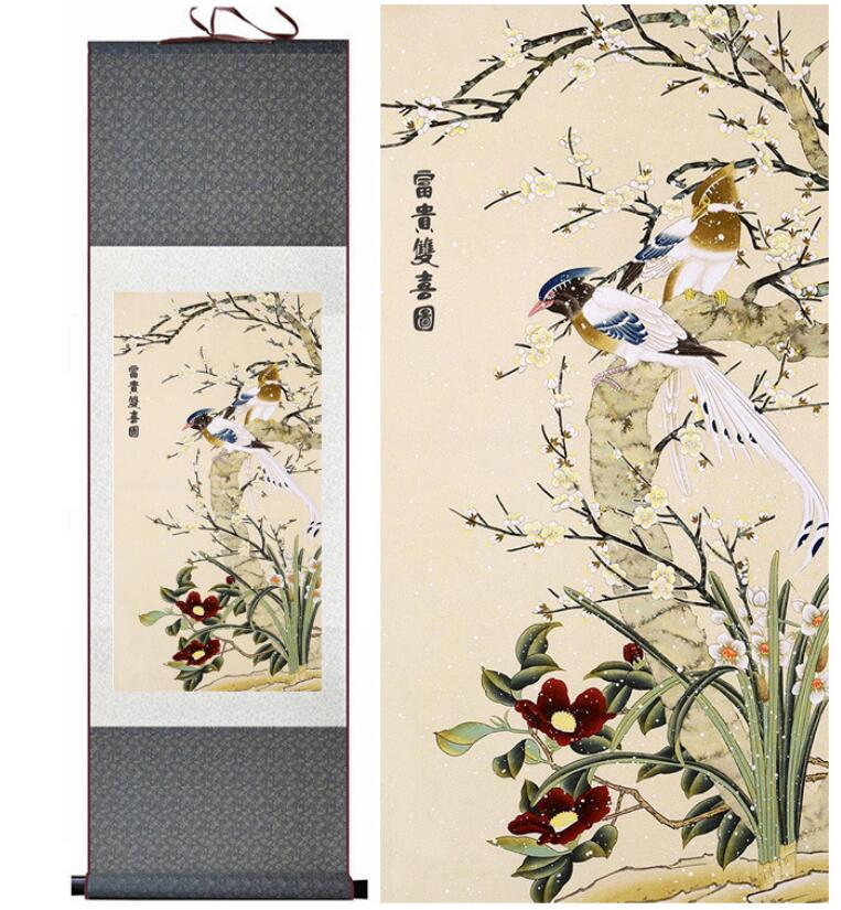 Schon Vögel Und Blume Malerei Seidenrollbild Traditionellen Vögel Und Blume  Malerei Chinesischen BirdsPrinted Malerei