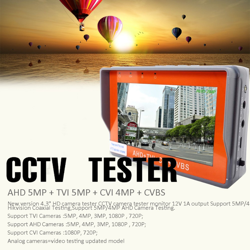 Image 2 - IV X 4.3inch CCTV AHD TVI CVI CVBS camera tester monitor analog CVBS camera testing UTP cable test 12V1A output free shipping-in CCTV Monitor & Display from Security & Protection