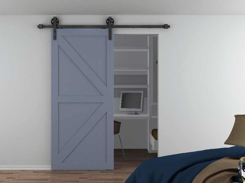150 ซม.-300 ซม.อุตสาหกรรมขนาดใหญ่ล้อเลื่อนประตู Barn ไม้ประตูภายในตู้เสื้อผ้าประตูห้องครัวประตูระบบชุดฮาร์ดแวร์