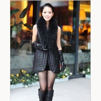 Autumn Winter Women Patchwork Pu Leather Coat Sleeveless Fur Collar Long Waistcoats Plus Size Black Vest