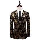 Golden Rose Pattern mens blazer casaco Ásia tamanho S 5XL Primavera e Outono Homens terno jaqueta de Manga Longa - 1