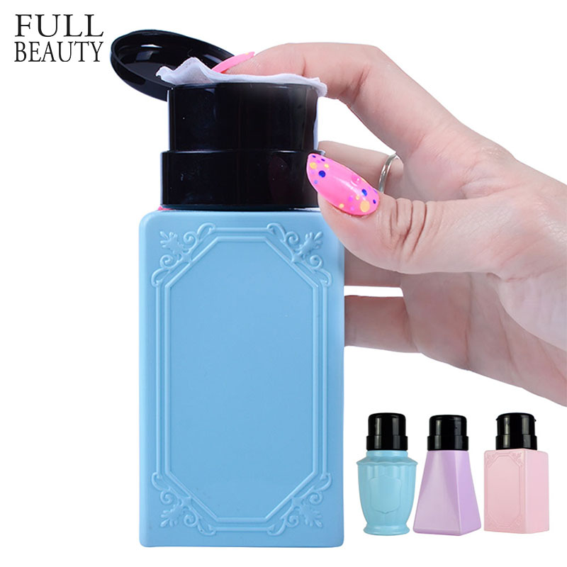 Full Beauty 200ml 3 Type Empty Pump Dispenser Nail Tools Bottle for Liquid Alcohol Remover Cleaner Refillable Container CH178 alcohol and liquid container bottle pink 100ml