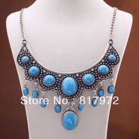 Charm Elegant Retro Tibet Silver Carved Flower Lace Inlay Turquoise Bead Bib Dangle Chain Necklace
