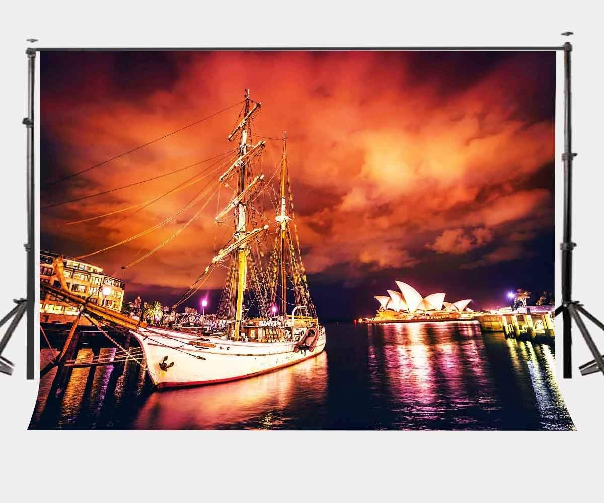 150x220cm City Night View Backdrop Sydney Opera House Photography Background Studio Props