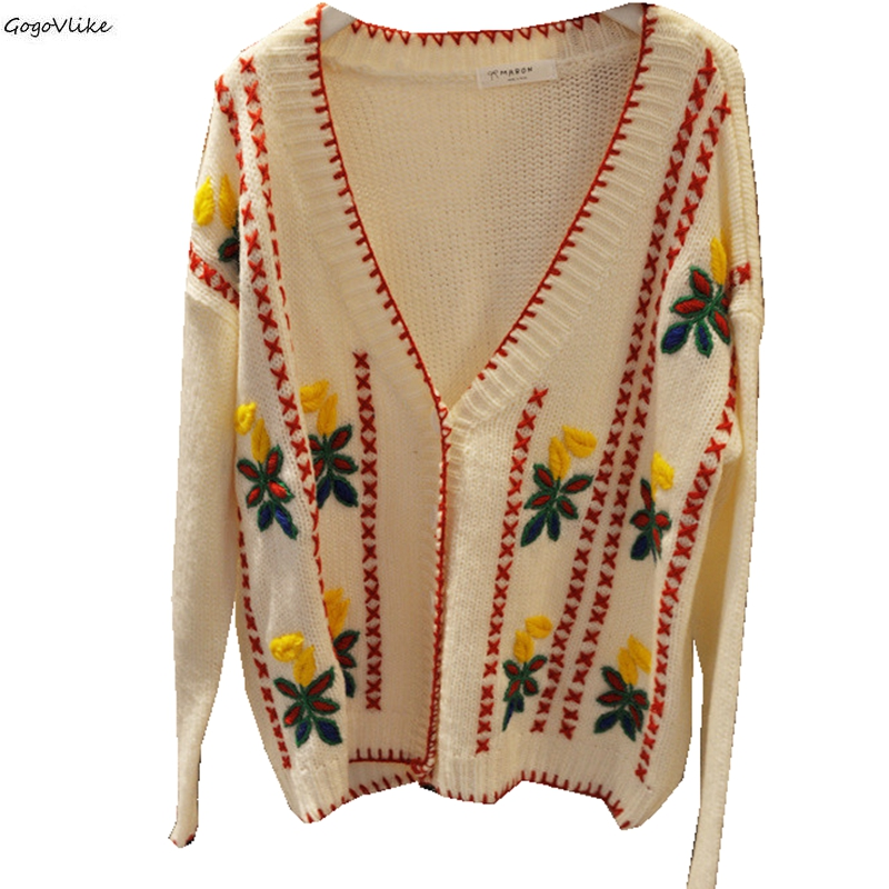 Deep V Neck Embroidery Flower Knitted Cardigans Autumn Winter Long Sleeve Women Sweater Coat Sweater Korean Style LT958S50(China)