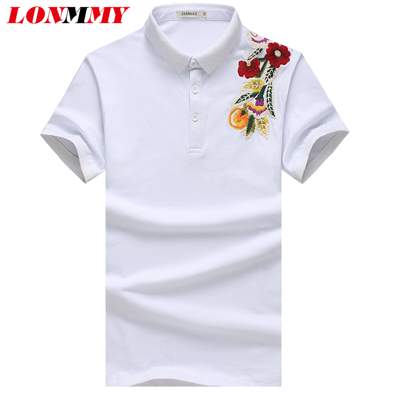 LONMMY M-5XL Floral   polo   shirts mens 95% cotton Lapel collar Fashion flower   Polo   shirt men Short sleeved Casual tops 2018 Summer