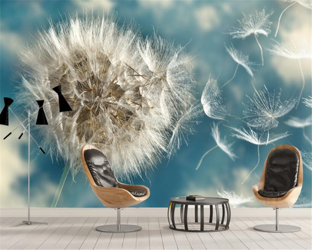 Beibehang Customize Large Mural Light Blue Pure Beautiful Dandelion Simple TV Backdrop Wall Wallpaper For Walls 3 D Papier Peint