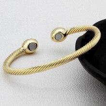Brazalete de energía de la salud magnética de cobre puro del Color del oro/oro rosado/plata de la vendimia pulsera redonda de la sanación para hombres/mujeres