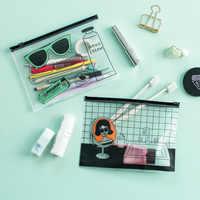 Kawaii Modern girl pencil case Cute Cool glasses PVC Transparent file bag Storage bag document bags stationery school supplies