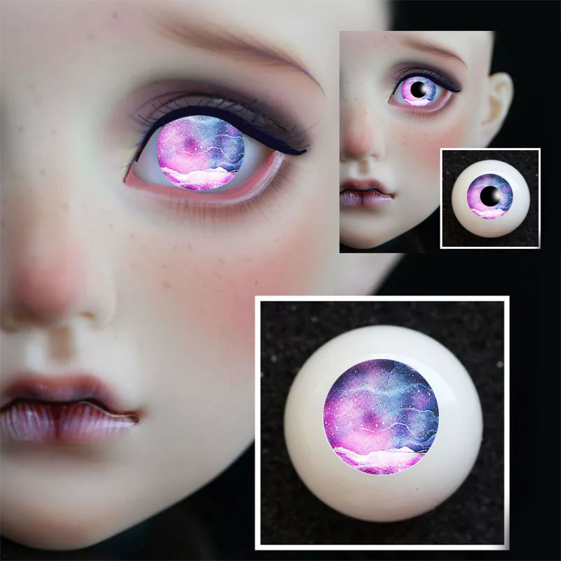 16mm Hand Made BJD Doll Eyes Pearlized Blue Acrylic Half Ball