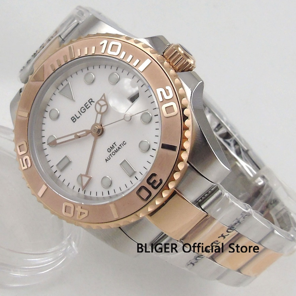 BLIGER 40mm Sapphire Glass White Sterile Dial Date Rotating Ceramic Bezel GMT Luminous Steel Automatic Movement men's Watch цена