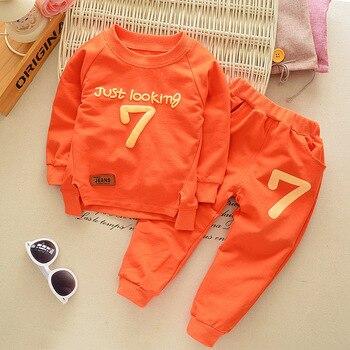 Spring Autumn Children Boys Girsls Clothing Cotton Long Sleeve Letter Sets Kids Clothes Tracksuit Baby T-Shirt Pants 2 Pcs/Suit 3