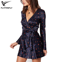 Eletage Heart Print Boho Beach Dress Women Sexy Ruffles V Neck Wrap Dress 2018 Autumn Long Sleeve Mini Party Dresses Vestidos