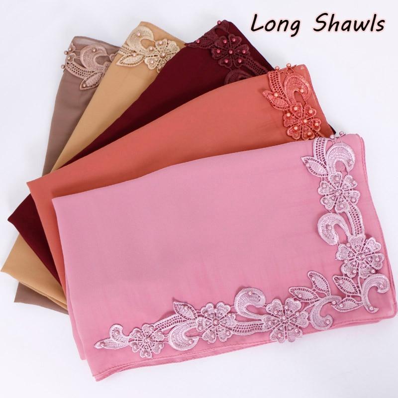 Lace Floral Hijab Scarf Plain Bubble Chiffon Wraps Beads Shawls Muslim Fashion Long Headband Wraps Islamic Scarves 10pcs/lot