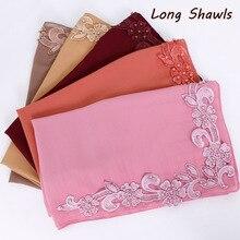 fd53402b70c Dentelle floral hijab écharpe plaine bulle de mousseline de soie wraps  perles châles musulman de mode à long bandeau wraps foula.
