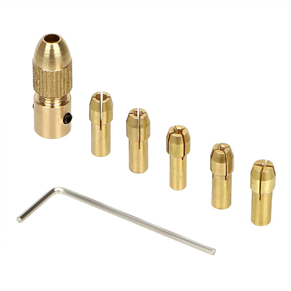 NICEYARD 5pcs/Set Micro Twist Drill Chuck Set 0.5-3mm Small Electric Drill Bit Collet Inner Diameter 2.35mm /3.17mm /2.00mm