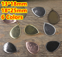 13 18mm 18 25mm 100pcs Antique Bronze Silver Gold Black Drop Blank Pendant Trays Bases Cameo