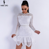 Missord 2018 Women Sexy Elegant Dresses Female Bodycon High Waist O Neck Long Sleeve Party Dress