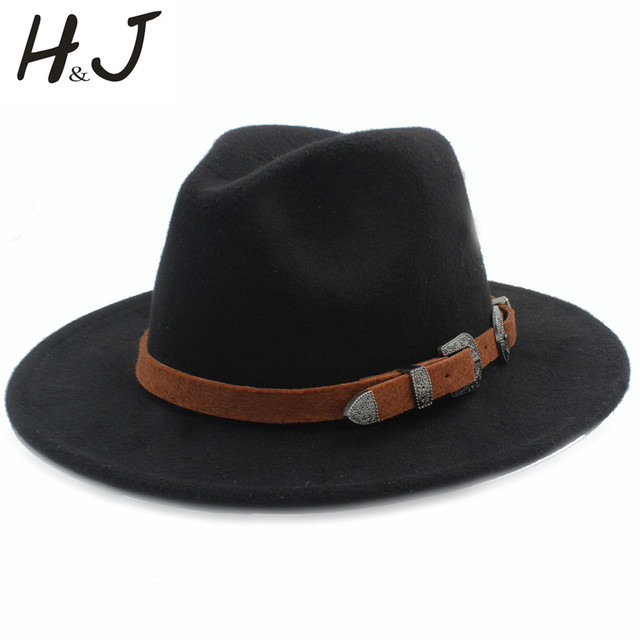 4522a78c5aea € 15.18 |Aliexpress.com: Comprar Sombrero Fedora de lana para hombres y  mujeres para caballero elegante señora invierno Otoño de ala ancha Jazz ...