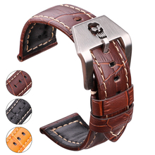 Genuine Leather Watchbands 22mm 24mm Thick Watch Band Strap Black Brown Orange Clock Belt Bracelet Skull Hollow Buckle For все цены