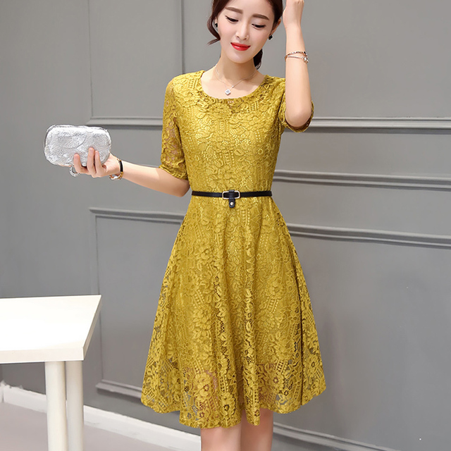31a2140ba18 2019 Korean style women lace dress summer fashion high quality short sleeve elegant  sexy party dresses with belt plus size robe