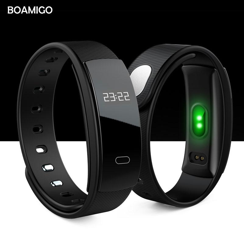 BOAMIGO intelligente orologi bluetooth Intelligente Wristband Del Braccialetto Frequenza Cardiaca messaggio di Promemoria Monitoraggio del Sonno per IOS Android phone