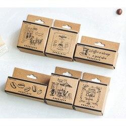 Mo. Karte Vintage kaffee shop holz stempel Dekorative DIY schreibwaren scrapbooking Einzelhandel