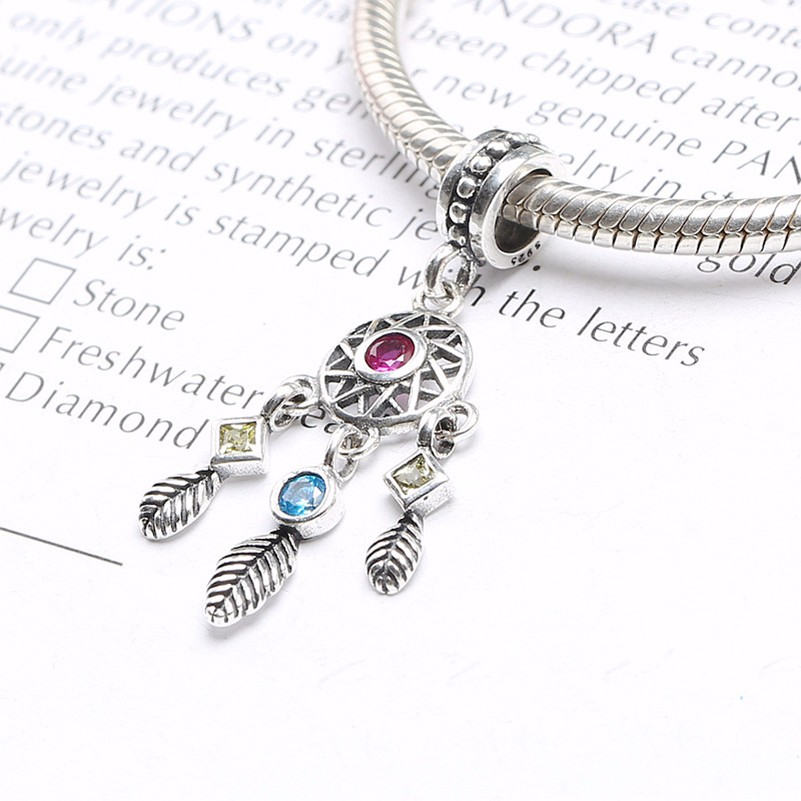 Original 100% 925 sterling silver dream catcher dangle charm Compatible with pandora Charm Bracelets KK1328