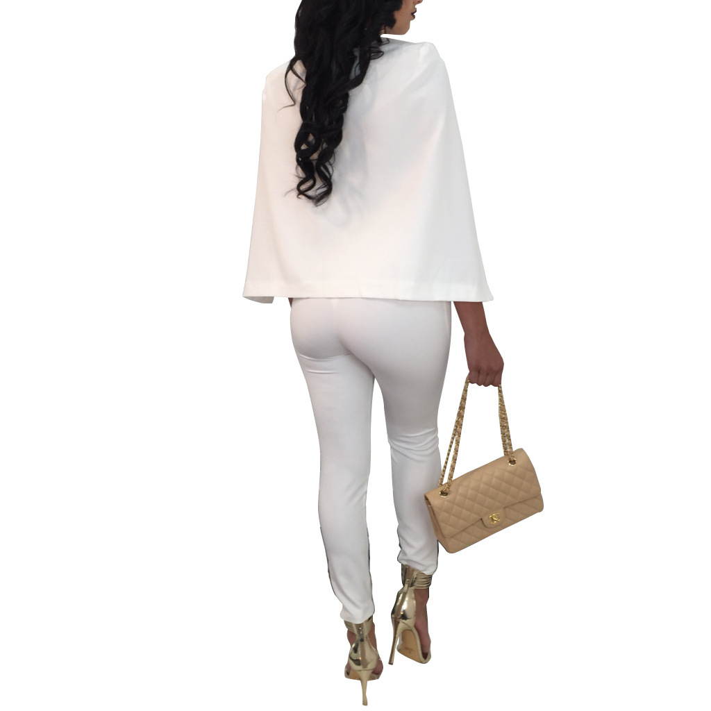 NEW Jumpsuits For Women 2017 Pantalon Largo Elegantes Cloak Cape Bandage Bodycon Rompers White Black Blue Red OL Office Overalls