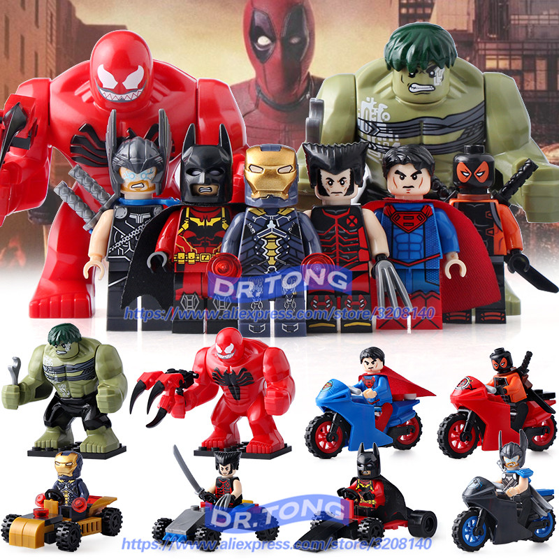 8PCS/LOT DLP9064 NEW Super Heroes Thor Hulk Batman Iron Man Deadpool Superman Building Blocks Bricks Toys Children Gifts building blocks super heroes back to the future doc brown and marty mcfly with skateboard wolverine toys for children gift kf197