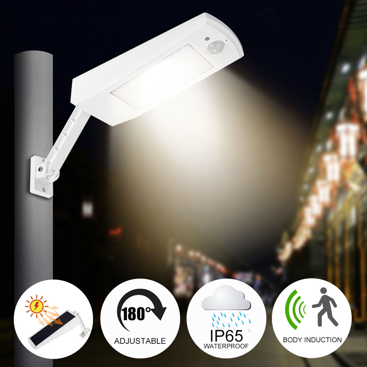 LED Wall Street Light Waterproof Motion Sensor Solar Power Outdoor Garden Lamp Induction/Micro-mode White/Warm White EmergencyLED Wall Street Light Waterproof Motion Sensor Solar Power Outdoor Garden Lamp Induction/Micro-mode White/Warm White Emergency