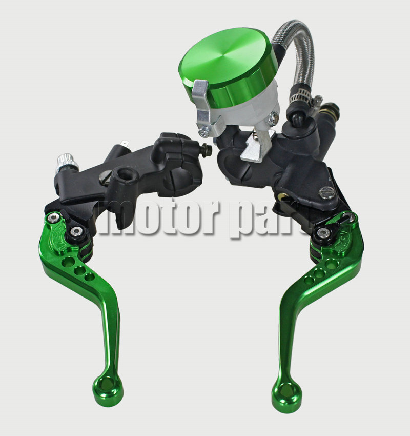Green Color 22mm 7/8 Universal Handlebar Adjustable CNC Brake Clutch Levers Master Cylinder Fluid Oil Reservoir Set For Aprilia universal motorcycle brake fluid reservoir clutch tank oil fluid cup for mt 09 grips yamaha fz1 kawasaki z1000 honda steed bone