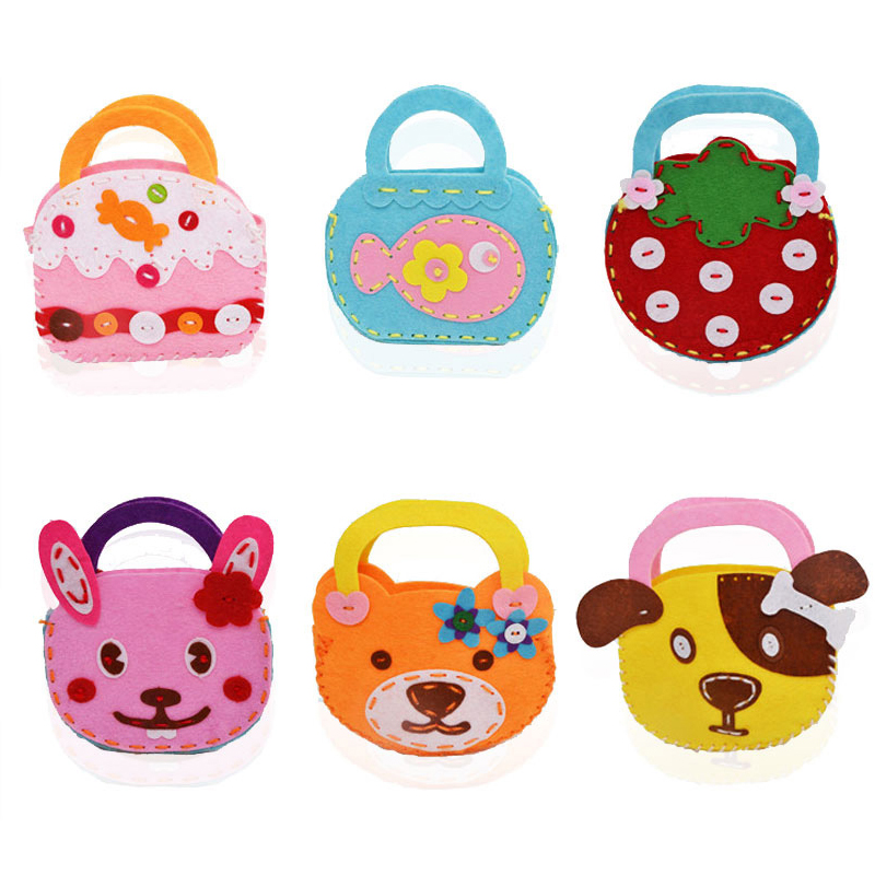 6 Style Children Kids Handmade Bags Nonwoven Fabric Puzzles DIY Crafts For Kids Learning And Educational