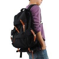 Men Casual Backpack Canvas Drawstring Bag Double Shoulder Bag Student School Bag Large Capacity Travel Black Laptop Backpacks