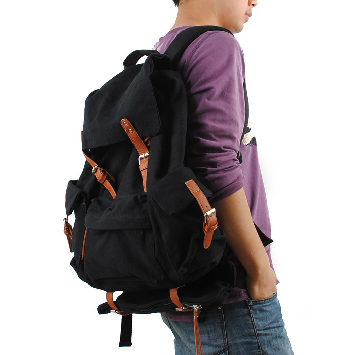 Men Casual Backpack Canvas Drawstring Bag Double Shoulder Bag Student School Bag Large Capacity Travel Black Laptop Backpacks men backpack student school bag for teenager boys large capacity trip backpacks laptop backpack for 15 inches mochila masculina