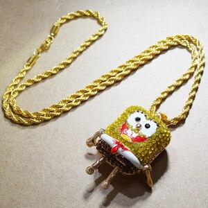 Image 3 - Karopel De Spongebob Squarepants Hangers Hip Hop Retro Cartoon Ketting Iced Out Gold Touw Mens Chain Bling